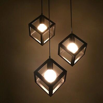 Annelise Black Cube Vintage Industrial Minimalist Style Pendant Lamp