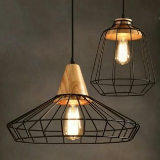 Gaetana Classic Industrial Caged Black Pendant Light