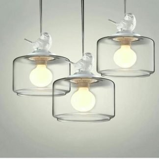 White Bird On Modern Polished Glass Contemporary Pendant Light