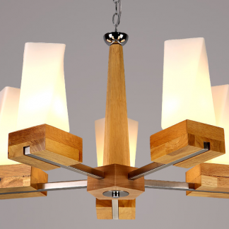 Acey Frosted Glass With Wood Pillars Hanging Lamp