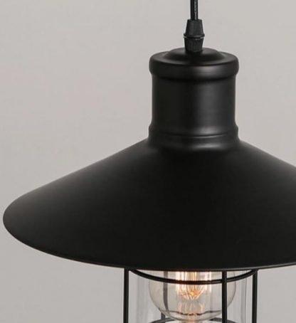 Parthenios Black Matte Industrial Vintage Pendant Light 4