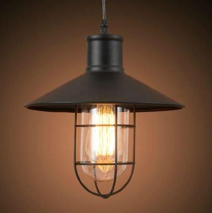 Parthenios Black Matte Industrial Vintage Pendant Light