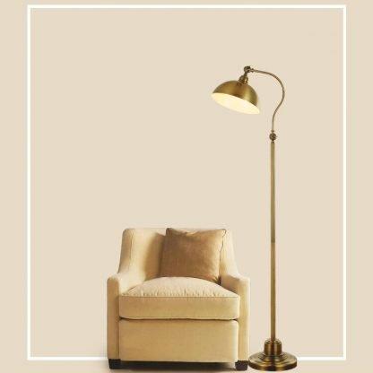 Lennart Antique Golden Shade Adjustable Luxury Design Metal Floor Lamp