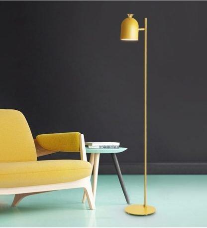 Magda Yellow Standing Modern Minimalist Industrial Tall Pole Light