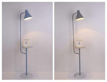 Mikkeline Contemporary Storage Shelf Grey Floor Lamp